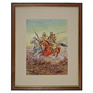 "Watercolor after Giulio Rosati ""Fantasia"" Arab Horses at Full Gallop Signed Artist's Monogram"