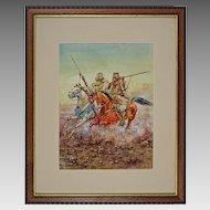 "Watercolor after Giulio Rosati ""Fantasia"" Arab Horses at Full Gallop Signed Artist's Monogram"