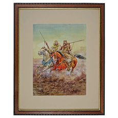 "Watercolor Moroccan Horses Warriors after Giulio Rosati ""Fantasia"" Framed"