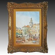 Watercolor Italian Market and Basilica View signed Jas. Holland