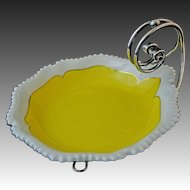 Antique Royal Worcester Art Deco Yellow Porcelain Bowl on Stand - c. 1912, England