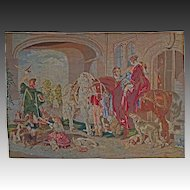 "Large 63""x45"" Needlepoint Tapestry / Wall Hanging English Hunt Scene after Sir Edwin Landseer- c. 19th Century, France"