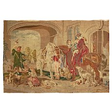 Sporting Tapestry Return from Hawking after Landseer Wall Hanging - 19th C., England
