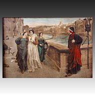 'Dante and Beatrice' Framed Color Print after Painting by Pre-Raphaelist Henry Holiday - c. 1900's, England