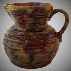 Fulper  Colonial Revival Ribbed Pitcher Brown Americana - 1922 to 1928, USA
