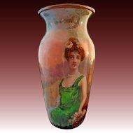 French  Enamel Miniature Portrait Vase Red Head Lady Woman Landscape - c. 19th Century, France