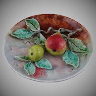 French Majolica Barbotine Fives Lille Cabinet Plate Two Pears