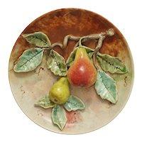 French Majolica Trompe l'Oeil Circular Pear Dish - c. 19th C., France