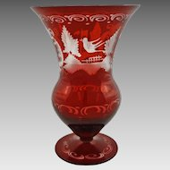Bohemian Traditional Red Glass Vase Czech  - 20th Century, Czechoslovakia