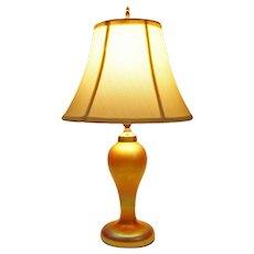 American Iridescent Quezal Art Glass Table Lamp Gold Art Deco - 1901-1924, USA