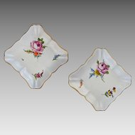 Pair Meissen Marcolini Square Floral Bowls - c. 1774 to 1814, Germany