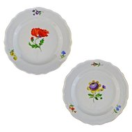 Pair Meissen Botanical Crossed Swords First Quality Floral Plates Dishes - c. 19th/20th Century, Germany