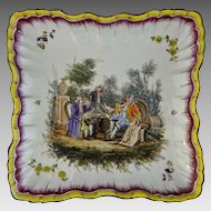 PAIR Antique French Faience Les Islettes Style Large Square Bowls Compotiers Polychrome Scenes - c. 19th Century, France