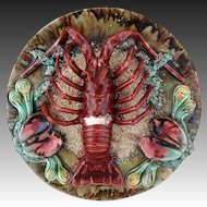 Three Dimensional Majolica Pottery Plate Lobster and Mussels on Ocean Bottom