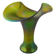 Loetz Creta Glatt Iridescent Olive Green Vase Monumental 15 Inch Tall - c. 20th Century, Austria