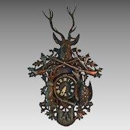 "Antique Monumental 41"" Black Forest Clock Hunt Theme - c. 19th Century, France"