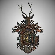 "Antique Monumental 41"" Black Forest Clock Hunt Theme - c. 19th Century, France"
