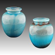 "Pair 9.5"" H Turquoise Colored Glazed Pottery Vases Jars - c. 20th Century"