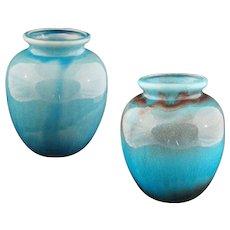 Pair Large Turquoise Aubergine Glaze Pottery Vases Jars Lamp Base - c. 20th Century