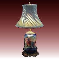 Moorcroft Orchid Pattern Pottery Lamp Base Cobalt Blue Ground - c. 20th Century, England