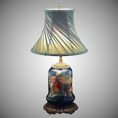 Moorcroft Orchid Pattern Pottery Lamp Base Cobalt Blue Ground - c. 20th Century, England