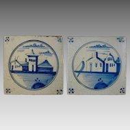 Pair of Antique Delft Blue White Tiles Landscapes  - 18th/19th Century, Holland