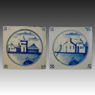 Pair of Antique Delft Blue White Tiles Landscapes  - 18th/19th Century, Holland