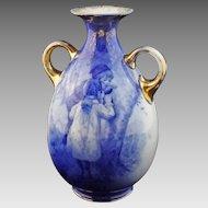 Large English Blue Children Handled Vase Marked Burslem B P Co. - c. 19th Century, England