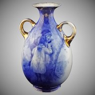 Large English Blue Children Handled Vase Marked Burslem B P Co. - c. 19th Century, England