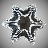 Daum Crystal Signed Star Shaped Bowl - 20th Century, France