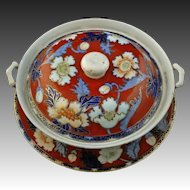 Japanese Arita Ware Red Lidded Bowl with Underplate Poppy Decor - c. 1921-1941, Japan