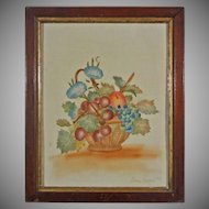 American Folk Art Theorem Picture on Velvet Fruit Basket with Grapes and Cherries Signed Lillian Marshall Framed