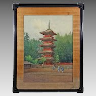 Red Pagoda Temple Watercolor Signed J. Tabuchi - 20th Century, Japan