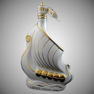 Limoges Larsen Cognac Bottle Viking Ship (empty) Gilt White Porcelain - 20th Century, France