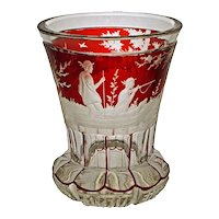 Bohemian Glass Biedermeier Beaker Goblet Ruby Red Etched Duck Hunt