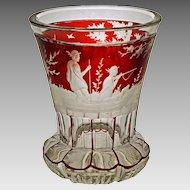 Antique Bohemian Beaker Hunt Scene Glass Beaker Etched - c. 19th Century, Bohemia