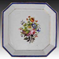 Early Antique Octagonal Porcelain Bowl / Plate / Dish Floral, Cobalt and Gilt
