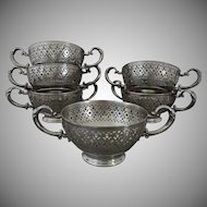 Set 6 Pierced Bouillon / Soup / Consomme Bowl Handled Holders Americana - 1886 to 1928, USA