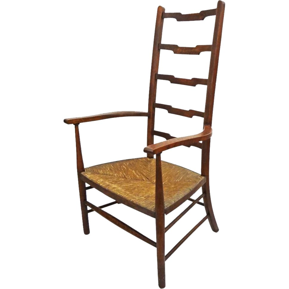 Arts And Crafts Movement Style Ladder Back Arm Chair Rush Seat   C. :  Amulet Art And Antiques | Ruby Lane