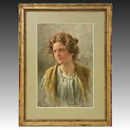 Venetian Watercolor Signed G. Vizzotto Alberti Genre Portrait Young Woman - 19th Century, Venice