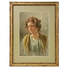 Venetian Watercolor Signed G. Vizzotto Alberti Genre Portrait Young Woman - 19th Century, Venice