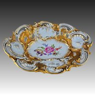 Meissen Crossed Swords Large Oval Bowl Gilt Pierced Porcelain - 1815 or later - Germany