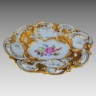 Meissen Crossed Swords Large Oval Bowl Gilt Pierced Porcelain - 1815 or later - Germany