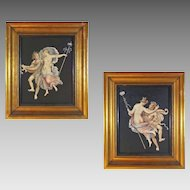 Pair Satyr and Maenad Engravings after Pompeii / Herculaneum Paintings - c.1800, Naples