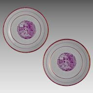 Pair Antique Printed Porcelain Puce Lusterware Bowls - c.1850, England