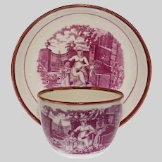 Adam Buck Style Puce Lusterware Cup and Saucer - c. 1820, England