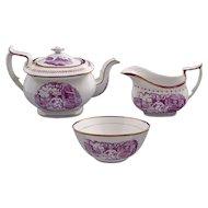 Set Antique Printed Porcelain Set Tea Pot, Creamer and Open Sugar Puce Lusterware - c.1820, England