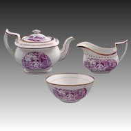 Set Antique Printed Porcelain Set Tea Pot, Creamer and Open Sugar Puce Lusterware - c.1820, England