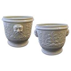 Pair Limoges after St Cloud Ceramic Wine Bottle Cooler / Cache Pot / Planter /Jardiniere - 20th Century, France