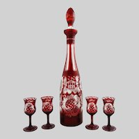 Tall (16 inch) Bohemian Glass Decanter with 4 Cordial Stems Set - c. 1900's, Bohemia